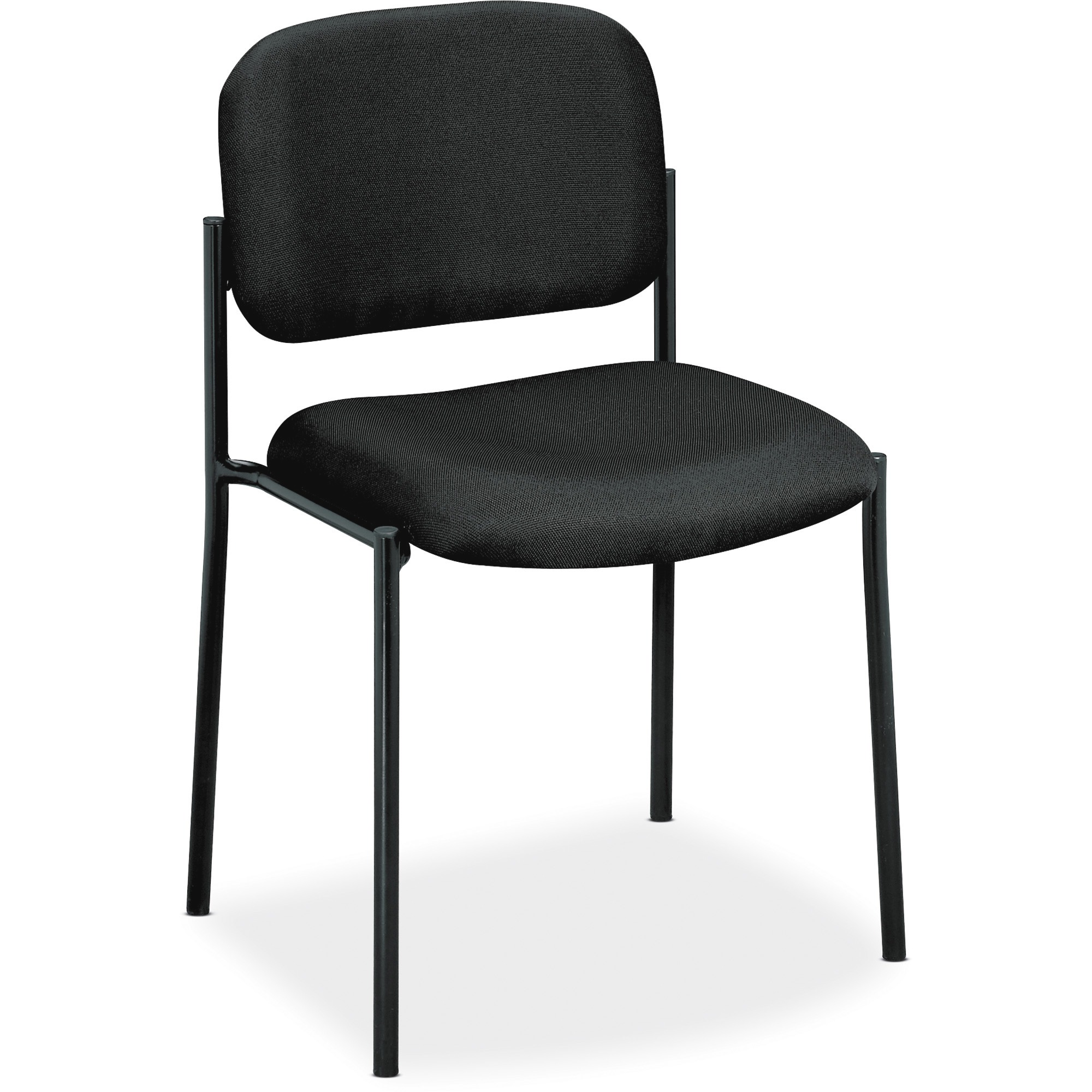 basyx VL606 Series Stacking Armless Guest Reception Waiting Room Chair, Black Fabric