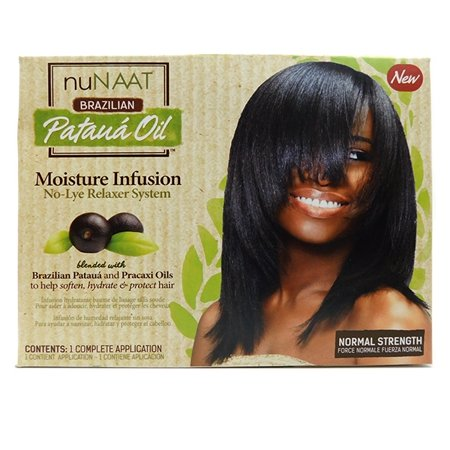 nuNAAT Braziliam Pataua Oil Moisture Infusion No-Lye Relaxer System normal strength 1 Complete Application