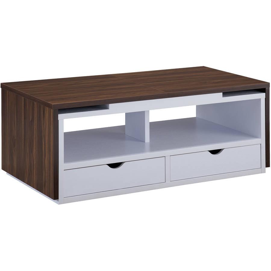 Furniture of America Aria Two Tone Transitional Coffee Table, Dark Walnut/White