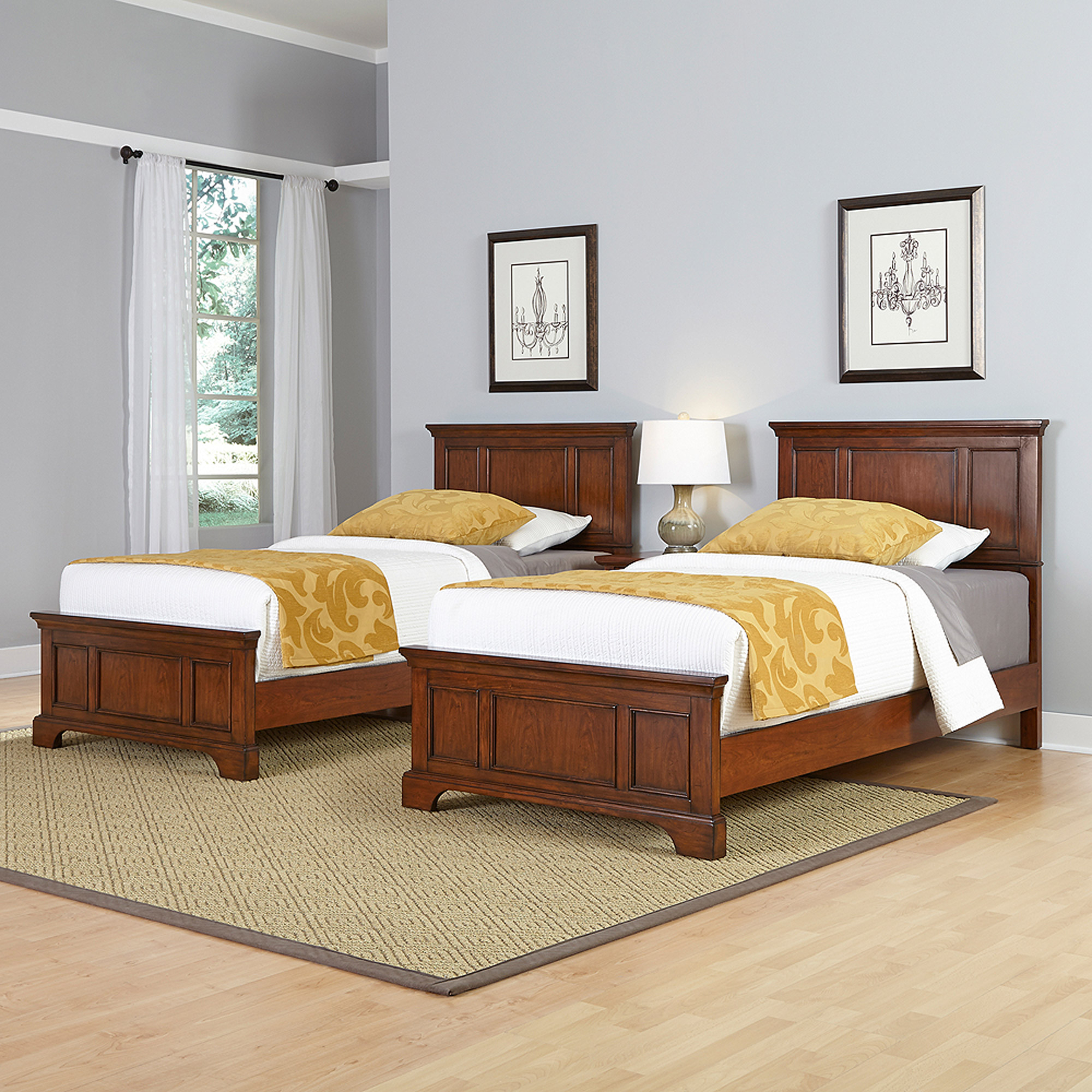 Home Styles Chesapeake 2 Twin Beds and Night Stand