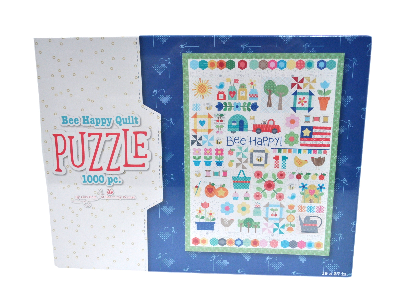 """BEE HAPPY QUILT PUZZLE BY LORI HOLT FOR RILEY BLAKE 1000 PCS 19/""""X27/"""" PUZZLE"""