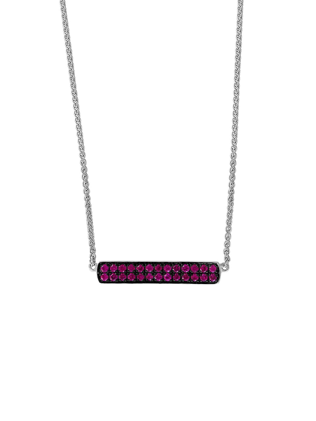 Sterling Silver & Ruby Bar Pendant Necklace