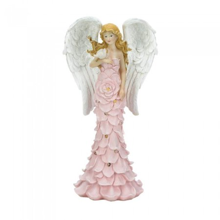 SOLAR POWERED PINK ROSE ANGEL STATUE (Powered Angle)