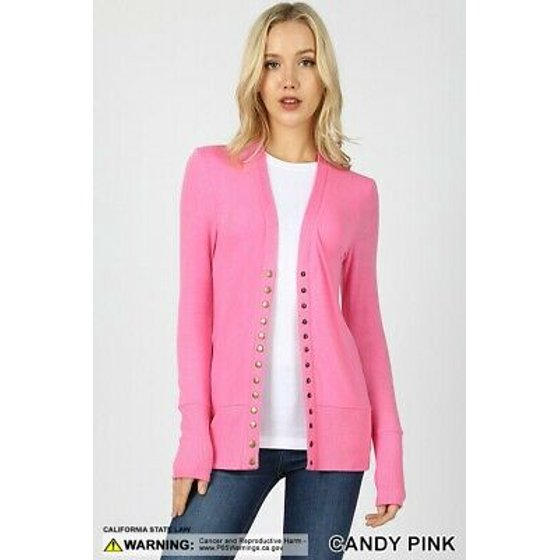 37cc7789c0a Zenana - Long Sleeve Snap Button Sweater Cardigan w  Ribbed Detail-2 ...
