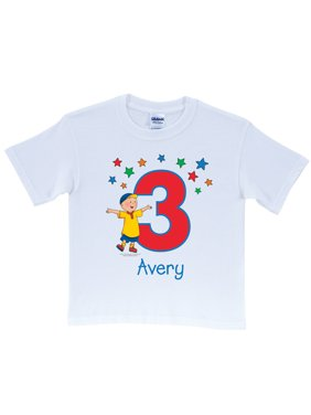 Personalized Caillou Birthday Star Toddler White T-Shirt