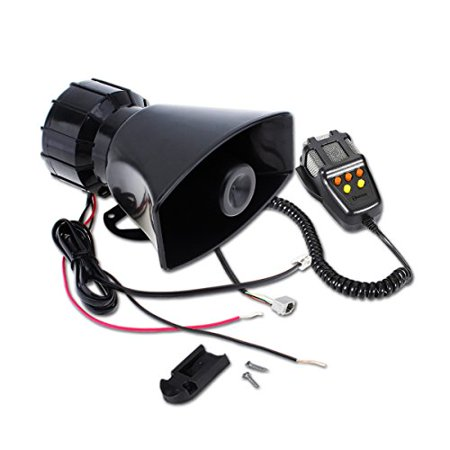 Zento Deals 100 Watts Universal and Weather Proof Black 5 Siren Sounds Car Horn with Microphone for PA System- Super Loud Emergency Siren