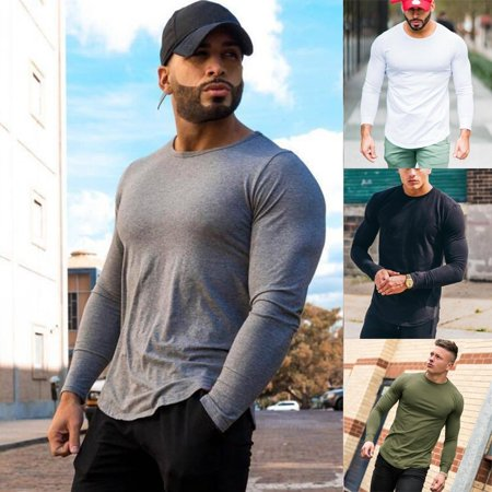 Hot Men´s Long Sleeve Casual Clothes Gym T-Shirt Long Sleeve Print Hat