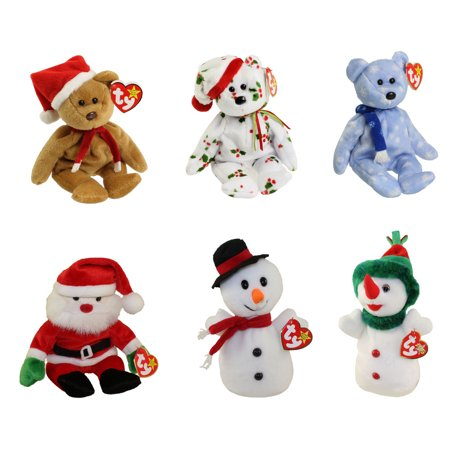 TY Beanie Babies - HOLIDAY #2 (Set of 6)(1997, 1998 & 1999 Bears, Santa, Snowball +1)(7.5-9 in)](Santa Bears)