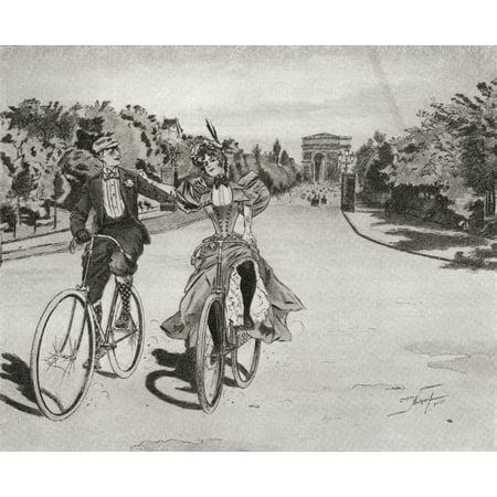 Cyclists on the way to the Bois du Boulogne Paris France in the 19th century From Illustrierte Sittengeschichte vom Mittelalter bis zur Gegenwart by Eduard Fuchs published 1909 PosterPrint