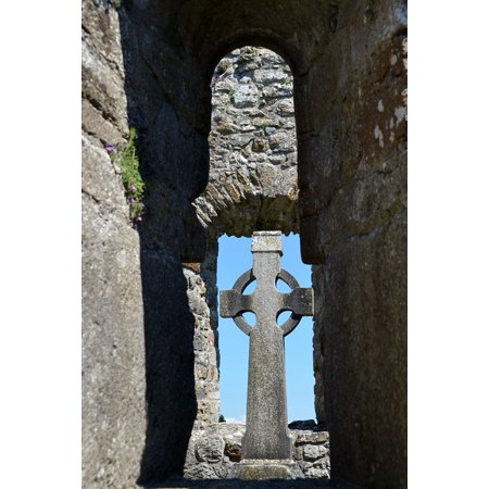 Canvas Print Cemetery Ireland Grave Cross Tombstone High Cross Stretched Canvas 10 x 14