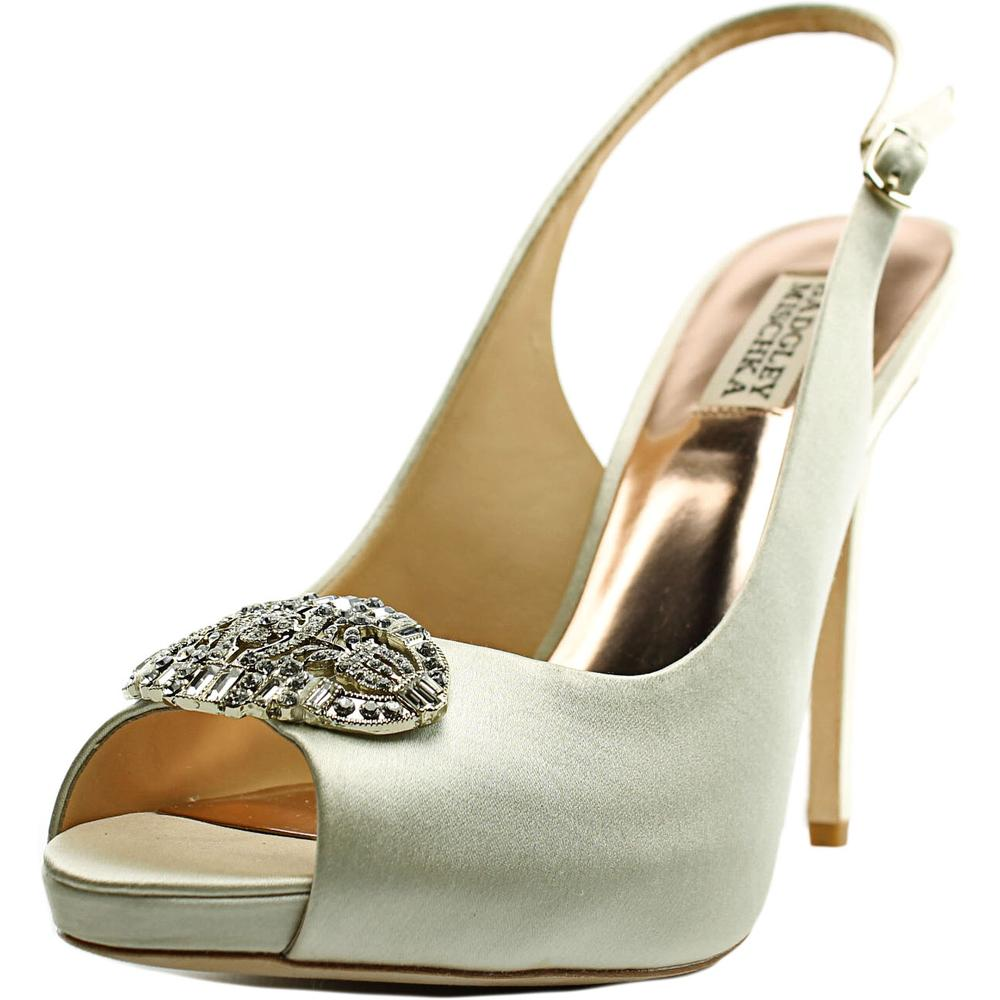 Badgley Mischka Adorn Women Open-Toe Canvas Ivory Slingback Heel by Badgley Mischka