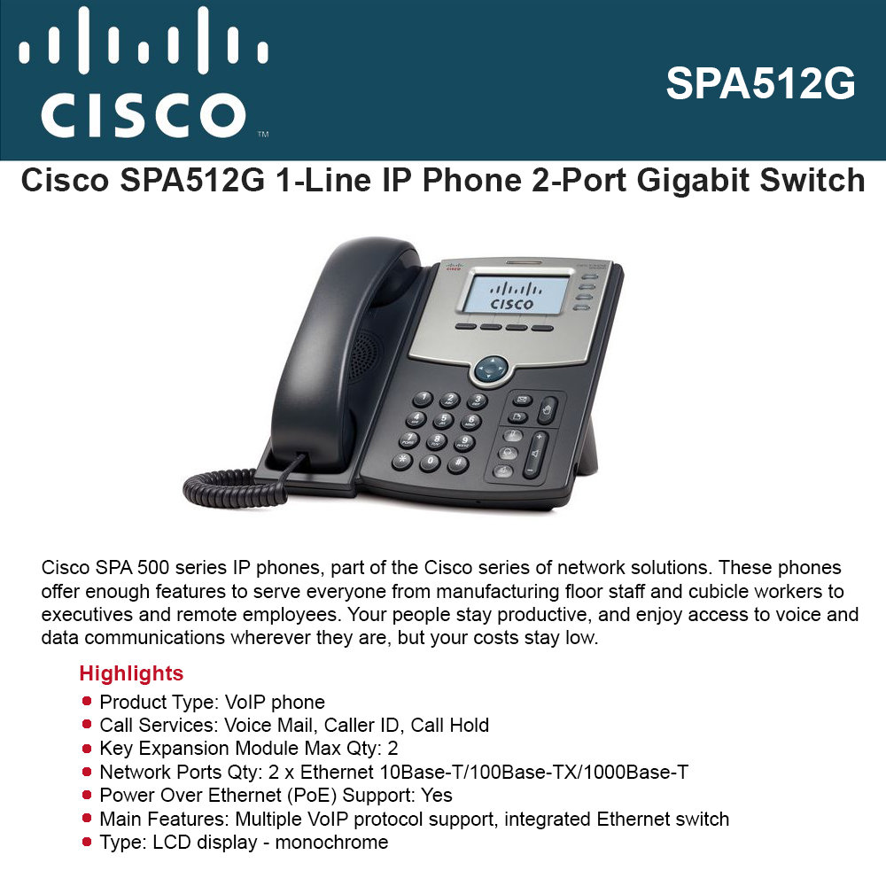 Cisco SPA512G IP Phone for Business or SOHO 2-Port Gigabit PoE LCD Display by Cisco