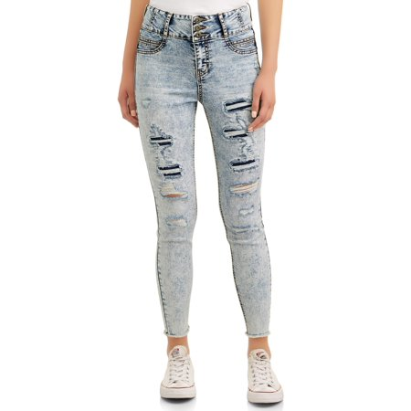 Juniors' No Boundaries Corset High Waist with Destruction Jeans