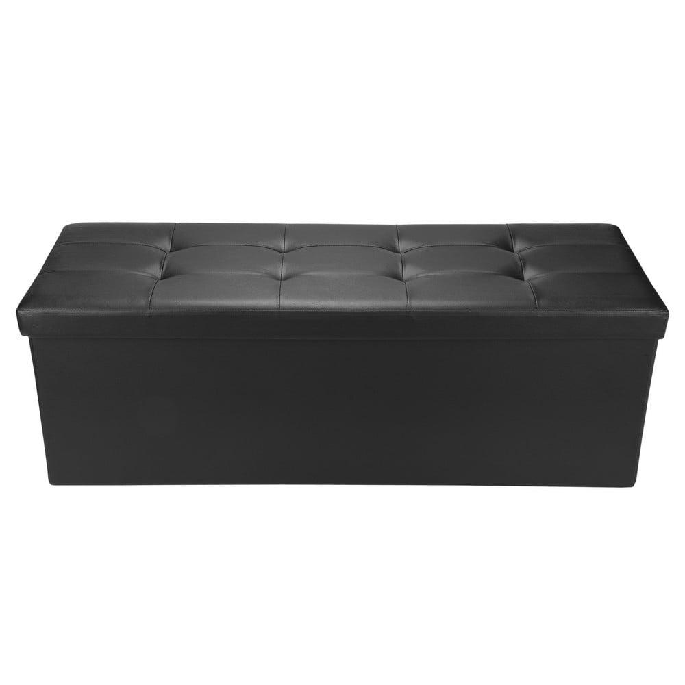 "Homegear 43.3"" Folding Storage Ottoman   Footstool   Bench Black by"