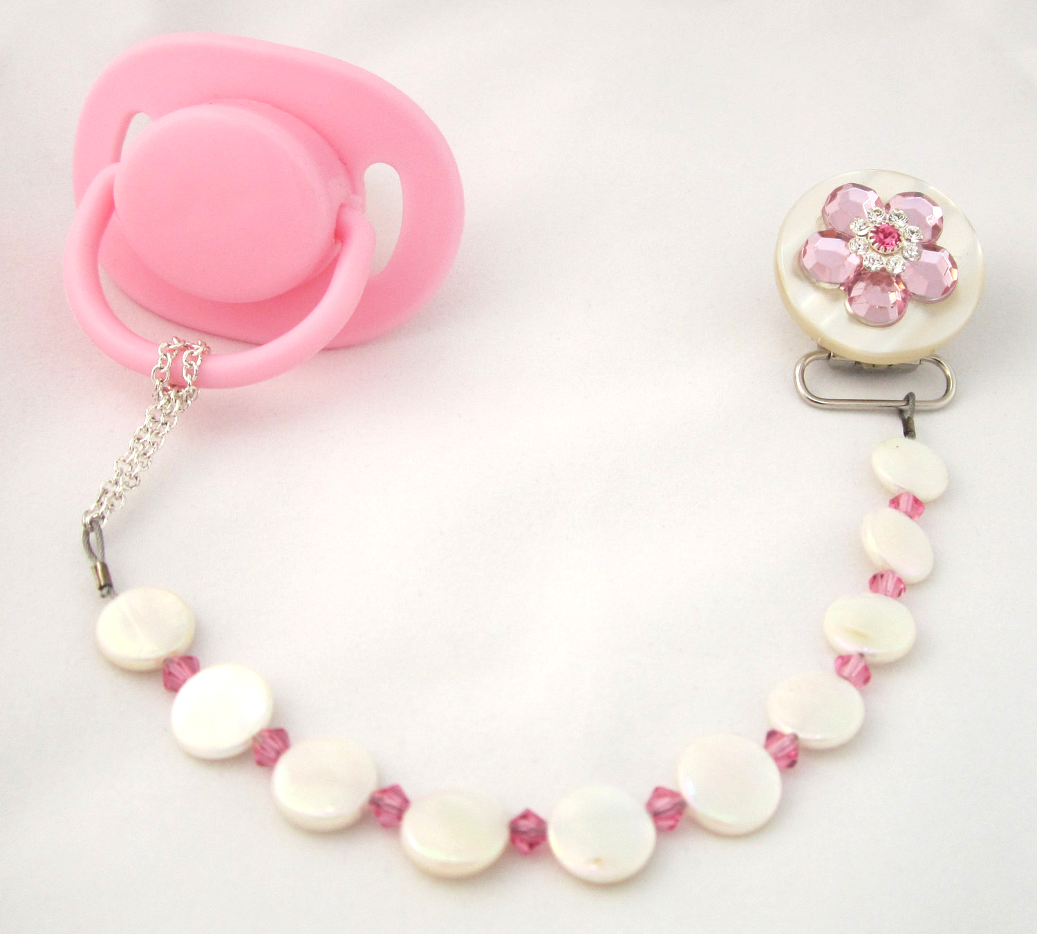 Flower Pacifier Clip with Stunning Mother of Pearls