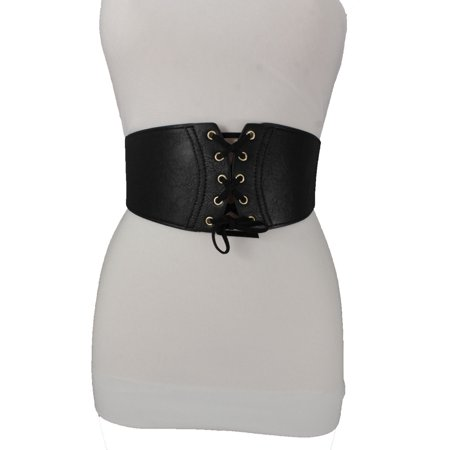 Women Fashion Wide Corset Belt Hip High Waist Front Ties Elastic Fabric Chic S M