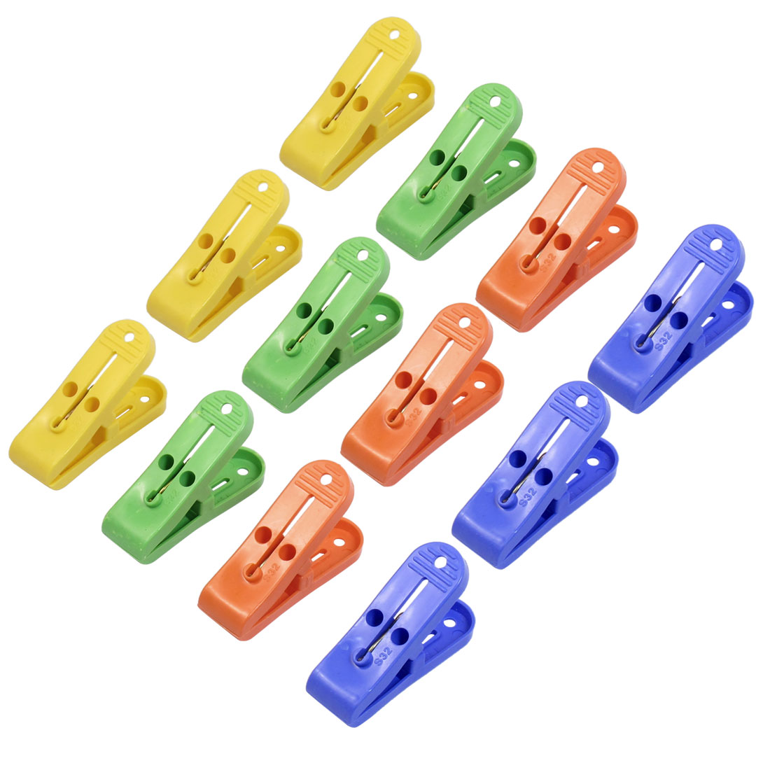 12 x Home Portable Plastic Multi Color Towels Clothes Pins Pegs