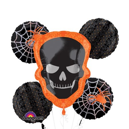 - Anagram Skeleton Halloween Foil 5pc Balloon Bouquet, Black Orange White
