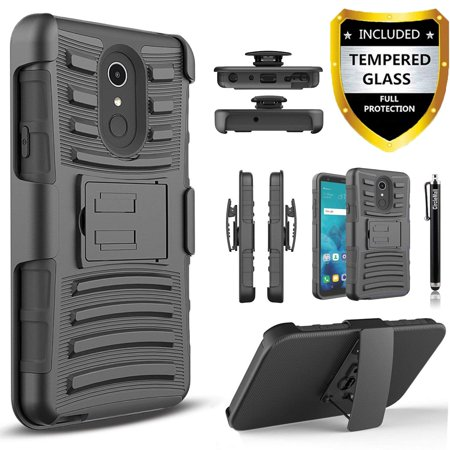 LG Stylo 4 Case, Dual Layers [Combo Holster] And Built-In Kickstand Bundled with [Temerped Glass Screen Protector] Hybird Shockproof And Circlemalls Stylus Pen (Black) Black Pvc Holster Case