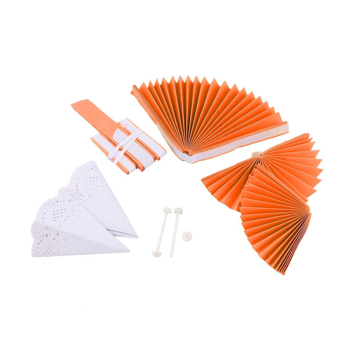 Wedding Party Paper Round DIY Handcraft Hanging Decor Rotating Fan Orange 2pcs