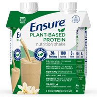 Ensure 100% Plant-Based Protein Vegan Nutrition Shakes with 20g Fava Bean and Pea Protein, Vanilla, 11 fl oz, 4 Count