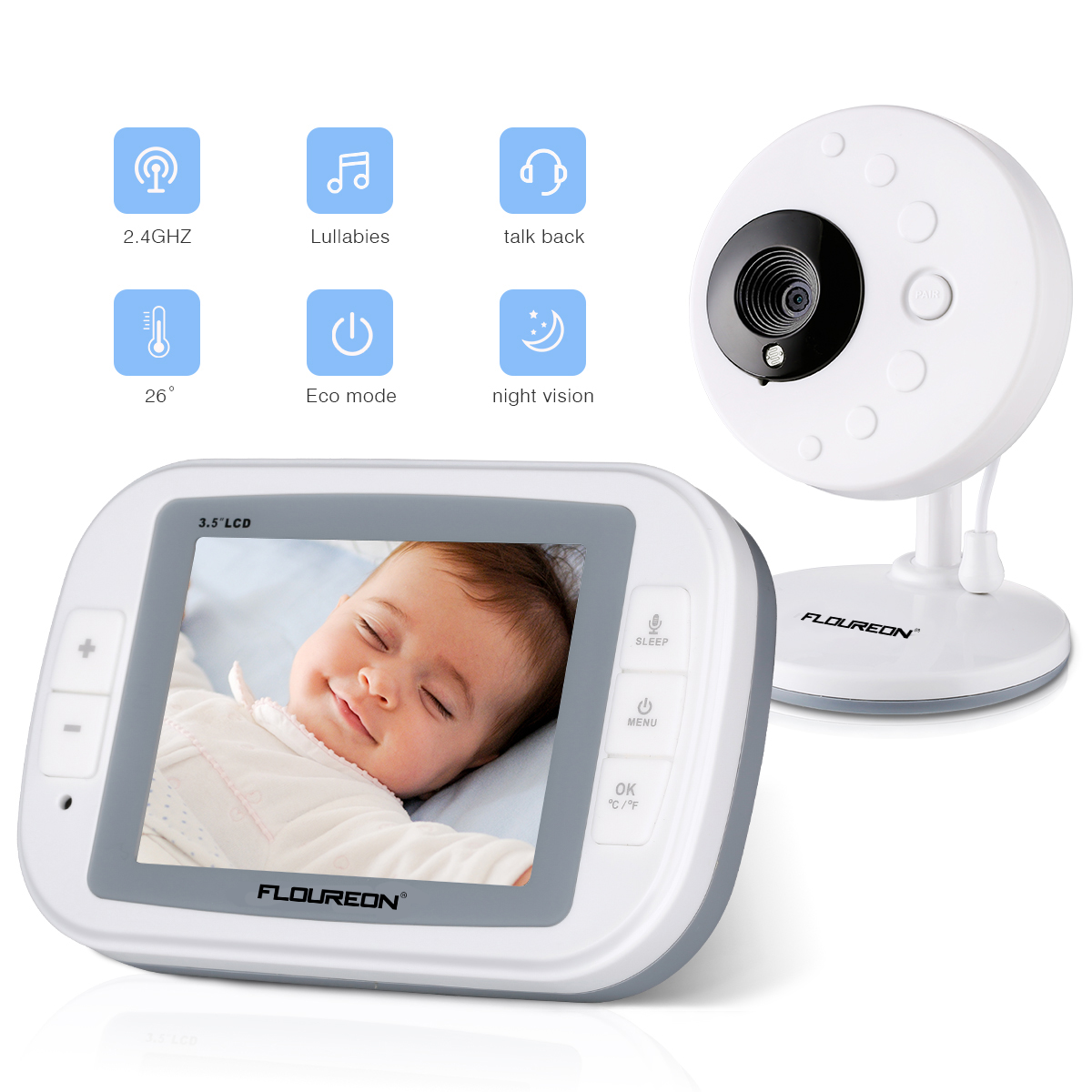 FLOUREON 3.5 Inch Digital Wireless 2.4 GHz Kids Baby Monitor LCD Video Nanny Security Camera Temperature Display 2 Way Talk Night Vision Lullabies Temperature Detection Talk-back Intercom Radio