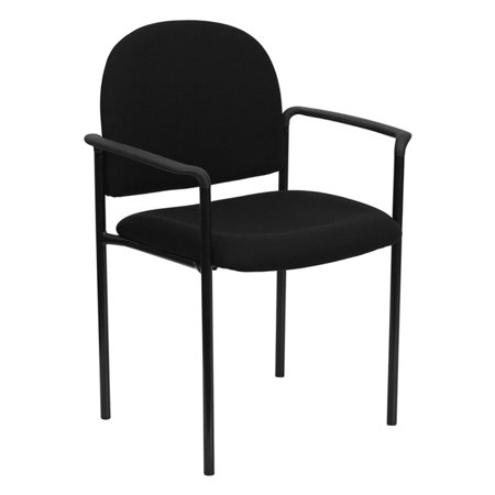 Offex OF-BT-516-1-BK-GG Black Fabric Comfortable Stackable Steel Side Chair with (Fabric Comfortable Stackable)