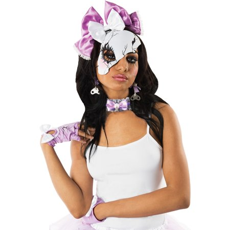 J Hope Halloween (Papillion Accessories Lavender Broken Doll Halloween Costume Accessory Kit for Women, 4 Pieces, by M&J)