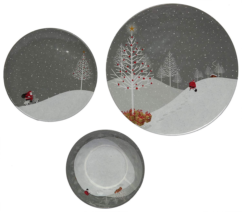 Melange Santa Comes Home 36 Piece Dinnerware Set Service For 12 Walmart Com Walmart Com