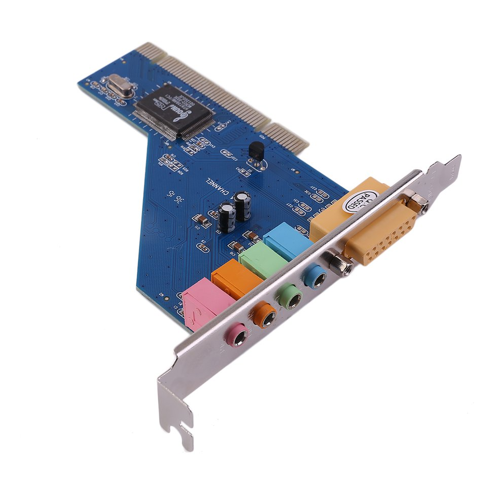 Blue Easy Convenient to Use 4 Channel 5.1 15-pin Surround 3D PCI Sound Audio Card for PC Windows XP//Vista//7