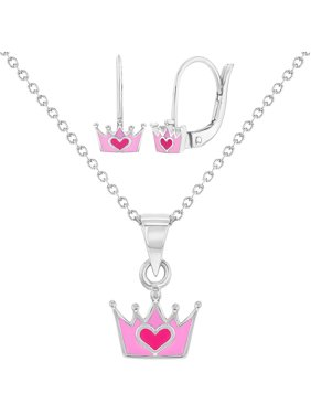 075ae5cff Product Image 925 Sterling Silver Princess Crown Jewelry Set Necklace  Earrings for Girls 16