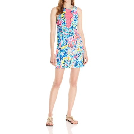 (Lilly Pulitzer NEW Blue Pink Womens Size 10  Adara Printed Shift Dress)