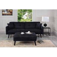 Product Image Mid Century Modern Linen Fabric Futon Sofa Bed Living Room Sleeper Couch Black