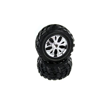 Redcat Racing Part BS908-002 Chrome Rims and Black Tires 2 Pieces Caldera 3.0 10E