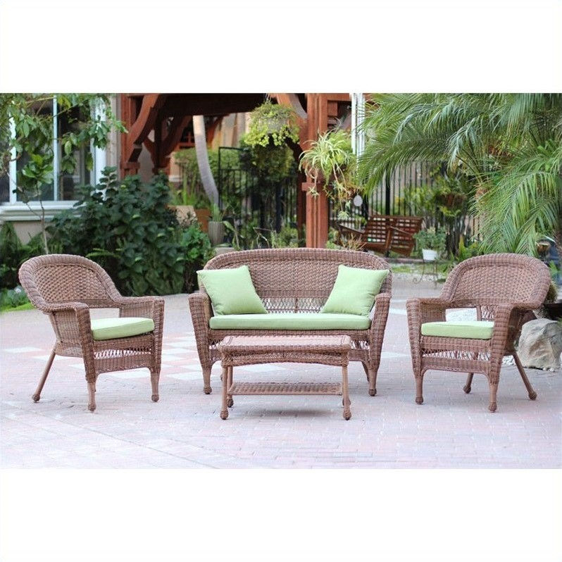 Jeco 4pc Wicker Conversation Set in Honey with Green Cushions
