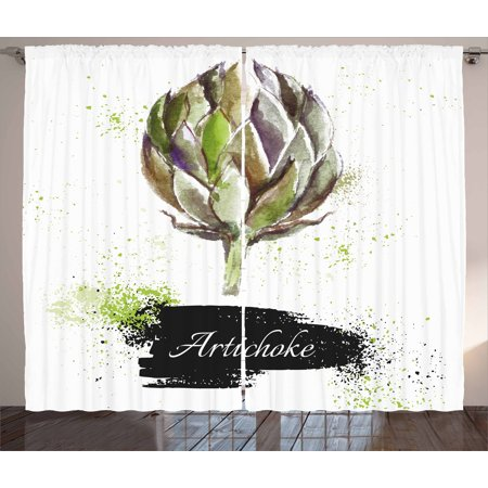 Artichoke Curtains 2 Panels Set, Hand Drawn Delicious Fresh Vegetable Healthy Menu Good Eats Super Food, Window Drapes for Living Room Bedroom, 108W X 84L Inches, Fern Green and Black, by Ambesonne ()