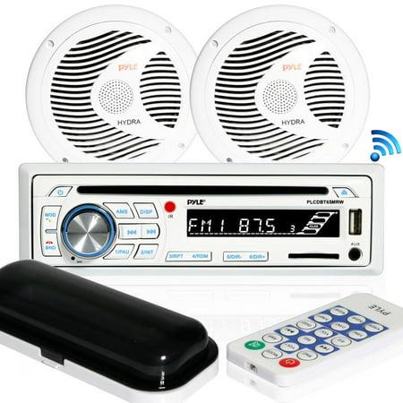 Pyle PLCDBT65MRW - Bluetooth Marine Stereo Radio Receiver & Waterproof Speaker Kit, Hands-Free Talking, CD Player, MP3/USB/SD Readers, AM/FM Radio, (2) 6.5''