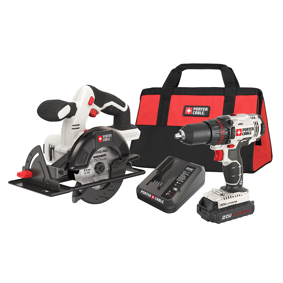 Porter Cable PCCK612L2 20-Volt 1.3Ah Drill Driver and Circular Saw Kit by
