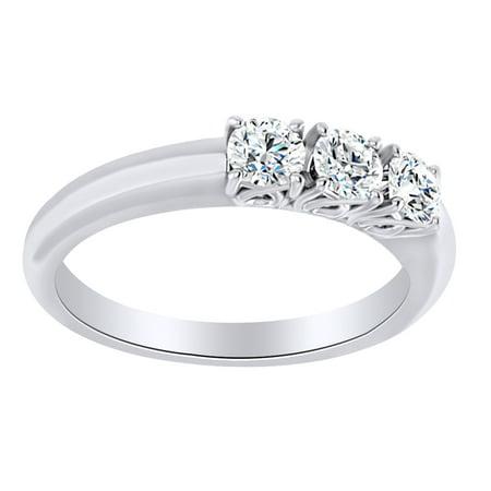 Round Cut Simulated White Moissanite Three Stone Band Ring In 14K Solid White (Cut Moissanite 3 Stone Ring)