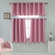 Solid Thermal Blackout Short Curtains Drapes For Kitchen Bathroom Cafe Window Decor