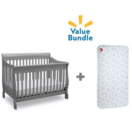 Delta Canton 4-in-1 Convertible Crib + Mattress Value Bundle ()
