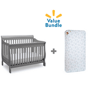Delta Canton 4-in-1 Convertible Crib + Mattress Value Bundle