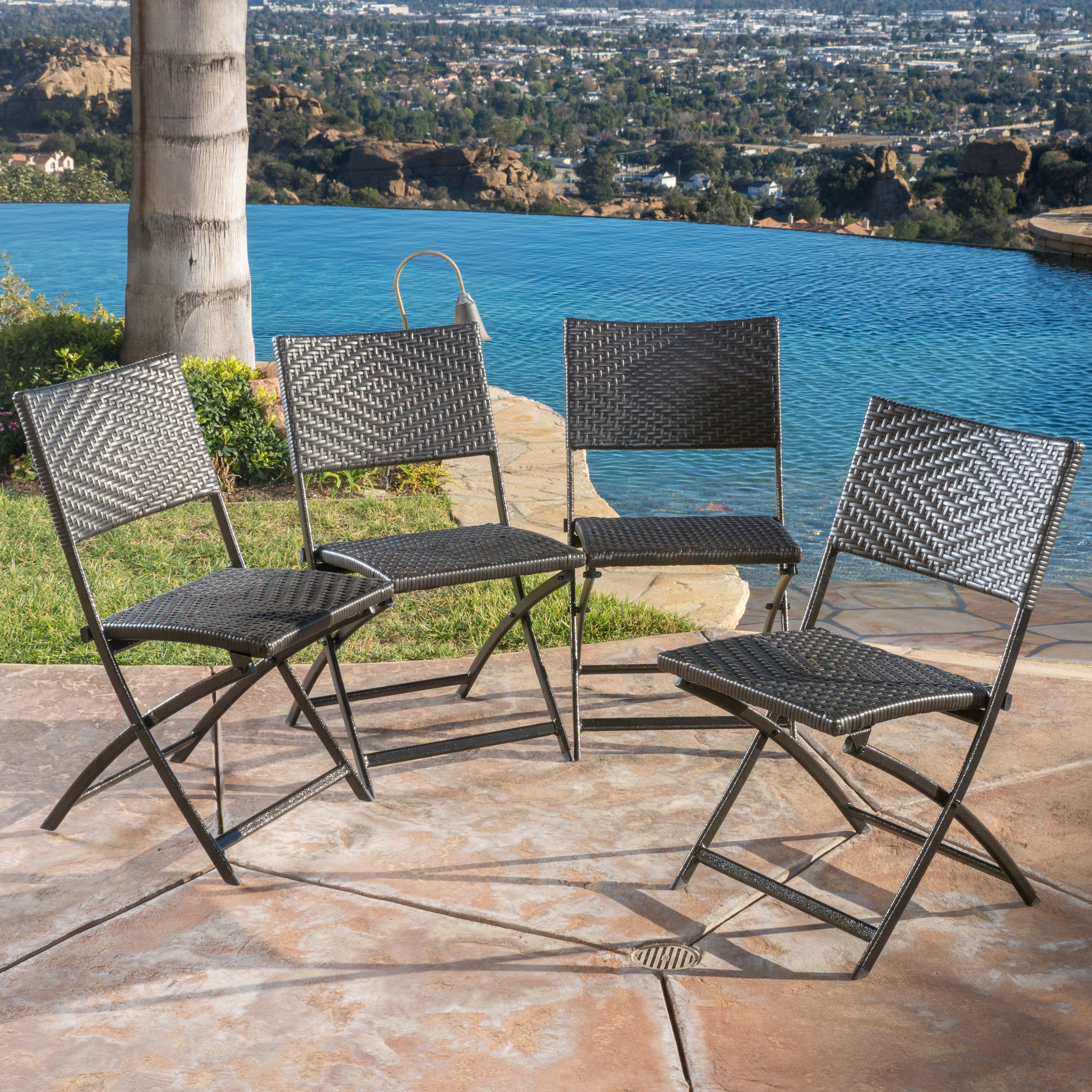 Noble House Brown Wicker Iron Dining Chairs (Set of 4)