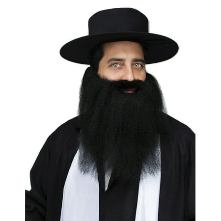 Black Crimped Mens Adult Amish Rabi Costume Halloween Beard](Halloween Face Painting Beard)