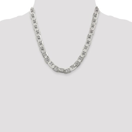 925 Sterling Silver 9.5mm Link Anchor Chain Necklace 20 Inch Pendant Charm Man Beveled Flat Fine Jewelry For Dad Mens Gifts For Him - image 2 de 9