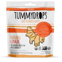 Tummydrops Natural Ginger Non-GMO Project Verified 30 individually wrapped drops in a resealable bag