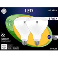 GE LED 85w Soft White Dimmable Large Flood BR40 2-pack