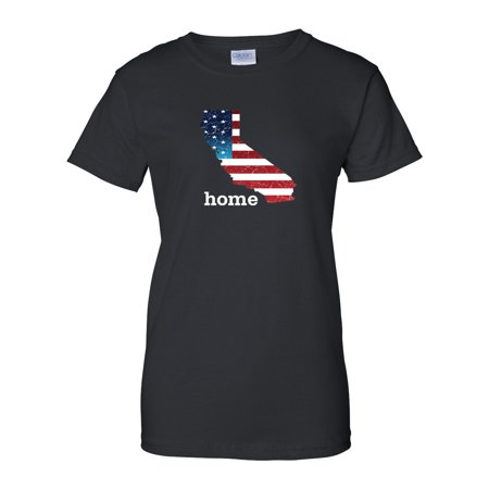 Patriotic American Flag California State Womens 4th of July T Shirt Size XS - 3X