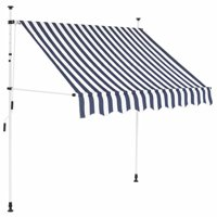 "OTVIAP Manual Retractable Awning 59"" Blue and White Stripes"