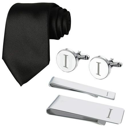 5db7ba91e3c9 BodyJ4You 5PC Cufflink Tie Bar Money Clip Button Shirt Personalized  Initials Letter I Gift Set - Walmart.com